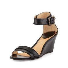 $209, Black Leather Wedge Sandals: Frye Carol Leather Wedge Sandal Black. Sold by Last Call by Neiman Marcus. Click for more info: https://lookastic.com/women/shop_items/63717/redirect
