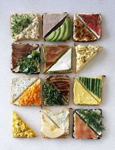 Great ideas for tea sandwiches or tapas Tapas, Healthy Snacks, Healthy Recipes, Healthy Eating, Delicious Recipes, Fast Recipes, Tea Recipes, Yummy Snacks, Drink Recipes