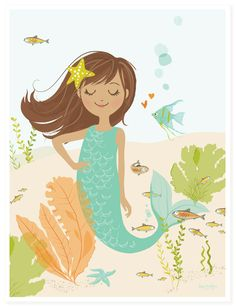 This deep sea cutie Mermaid wall art is sure to delight the little mermaid in your life! We love this as a colorful accent in a little girl's bedroom, and it also looks great as bathroom art. Product