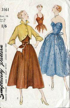 "1950 Vintage Sewing Pattern B34"" DRESS & JACKET (R656) #Simplicity"
