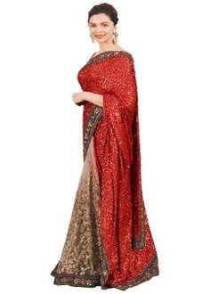 528c00f35ef8e6 Buy RadadiyaTRD Georgette & Net Saree - Beige Best Designer Sarees,  Designer Sarees Online Shopping
