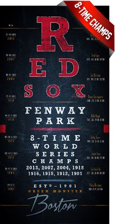 This Boston Red Sox eye chart features the 8-times the Sox have won the World Series including 2013. This will make a hit for any Sox fan! - Eye