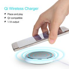ROCK Qi Wireless Charger 5V2A Fast Charger With Blue Led Light For Samsung Sony HTC LG Nokia Moto Sharp All Qi-Enabled Devices