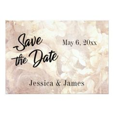 Romantic Vintage Floral Save the Date Typography Card - wedding invitations diy cyo special idea personalize card