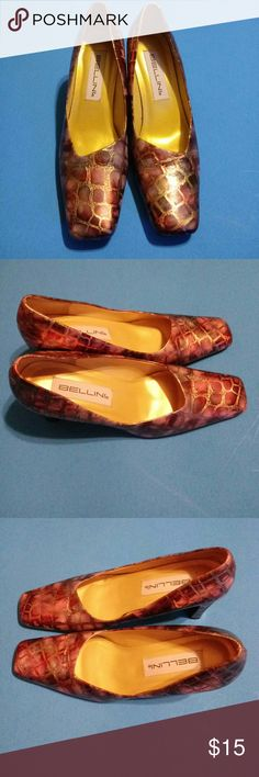 Women's Multi Color Fancy Dress Shoes 7 - 1/2 M.  3 inch heels. Eye-Catching. Beatiful & Comfortable. Excellent Condition. Great for work or formal occasions. Bellini Shoes Heels