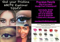 Precision Pencil in Pristine | Eye Liner | White Eye Liner | 3D Fiber Lash Mascara | Lip Gloss | Lucrative Lip Gloss | Beauty | Vogue | Pretty | Exclusive Black Status Presenter | Black Status Presenter | Join My Team | Direct Sales | Financial Freedom | Success | Best Younique Team | Younique Products | Black Status Younique Presenter | www.BeautifulBoldLashes.com
