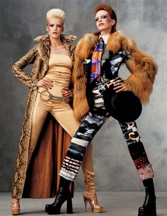 Models Hannelore Knuts and Diana Mezaros channeled British musical icons David and Angela Bowie.  Photographed by Steven Meisel
