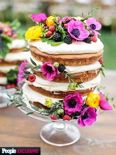 You're Going to Want to Steal Every Detail of Molly Sims' Baby Shower | JUST DESSERTS | It's the stuff Pinterest dreams are made of. Annie Campbell's naked layer cake made for a sweet ending to the celebration.