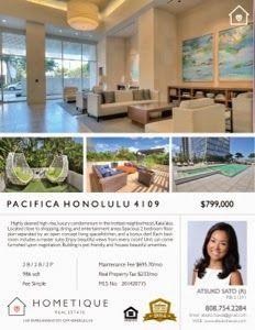 さとうあつこのハワイ不動産: ATSUKO's new listing! Pacifica Honolulu 4109