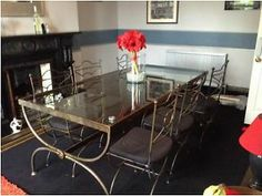 Glass topped wrought iron dining room table and six matching chairs Oakwood Picture 5