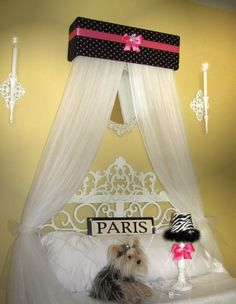 Padded Bed Canopy Crown Tiara Sale Princess Personalized Black Hot Pink Polka…