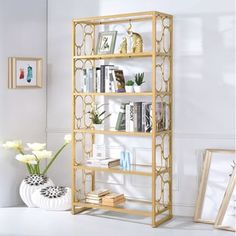 Acme Furniture Milton Goldtone Metal and Clear Glass Bookshelf