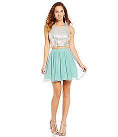 79f97c701cf Jodi Kristopher Metallic Sequin Bodice Mesh Two-Piece Dress