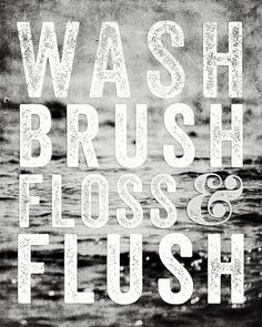 Whimsical Bathroom Decor Typography In Black And White  Print by Lisa Russo on Fine Art America
