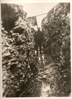 World War I soldier in a trench in 1918.