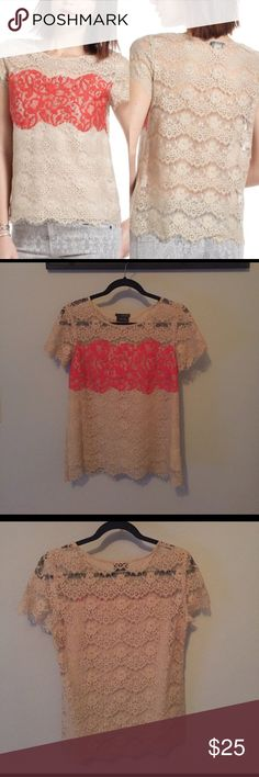 """Anthropologie Porcelain Lace Colorblock Top EUC Lace color block top in beige and coral. Size small. Front of top is lined however back is not. Can be worn with or without an undershirt. Bust is 18"""" armpit to armpit. 25"""" long. Anthropologie Tops Blouses"""