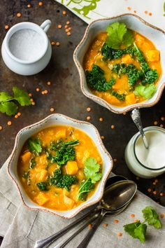 The Bojon Gourmet: Curried Red Lentil, Kale and Sweet Potato Soup. I'll sub the sweet potato for butternut squash. Soup Recipes, Vegetarian Recipes, Cooking Recipes, Healthy Recipes, Coconut Recipes, Delicious Recipes, Bojon Gourmet, Spinach Soup, Kale Soup