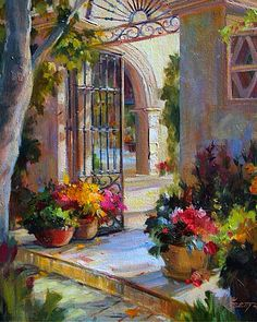 Mediterranean Patio ~ Betty Carr~ These Colours Are A Dream~ Google Search