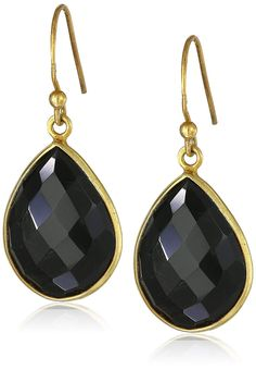73f91ec99 Gold-Plated Sterling Silver Faceted Black Onyx Teardrop Earrings  >>>