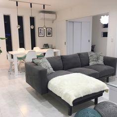 Mariさんの、部屋全体,照明,IKEA,ソファ,リビングダイニング,モノトーン,白黒グレー,白黒インテリア,のお部屋写真