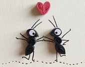Valentines Card, Red Heart and Black Ants, Quilling Art, Insects, Blank Card, Paper Goods, Red White and Black