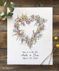Fingerprint Guest Book, Wedding Guest Book Alternative, Floral Wreath, like fingerprint tree, thumbprint tree, Spring Flowers, bridal shower by bleudetoi
