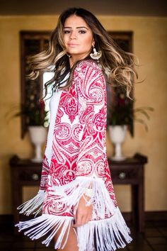 Thassia Naves - pink paisley print with fringe