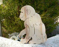 """Puzzle en bois """" le Chimpanzé """" jouet en bois découpé"""