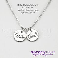 Personalized Charm Necklace Bella Riche Hand by RococoRiche
