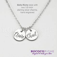 Personalized Charm Necklace with Hand Engraved Name / Bella Riche style by Rococo Riche