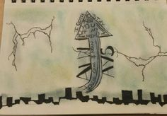 Breath #4 6 x 8 in neverdull and pen/pencil