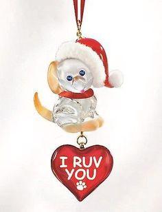 Glass Baron ~ Dog Puppy I Ruv You Christmas Ornament ~ Crystal Eyes ~ NIB