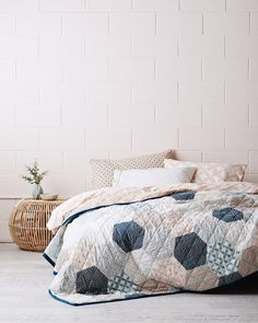 A light weight hand printed patchwork bedcover with our signature seasonal prints and blush reverse. Featuring stitched diamond quilt detail in dark teal. Hexagon Patchwork, Pick And Mix, Diamond Quilt, Retro Pattern, My Room, Printed Cotton, Comforters, Quilts, Blanket