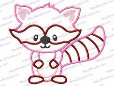 Raccoon Applique Embroidery Design