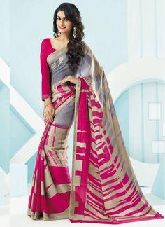 Cream, Grey and Hot Pink Crepe Digital Print Casual Printed saree