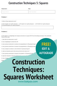 This free Construction Techniques: Squares Geometry worksheet with answers is fully customizable and autogradable with Bakpax! Better yet, students can complete it online or on paper. Check out more standards-aligned math assignments like this one at bakpax.com. Middle School, High School, Geometry Worksheets, Construction, Explain Why, First Step, Squares, Students
