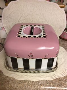 Vintage cake carrier/custom painted by macnme on Etsy