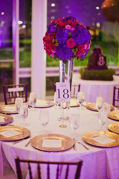 D Weddings | Lindsey Adams & Jarrod Williams, purple and gold wedding decor