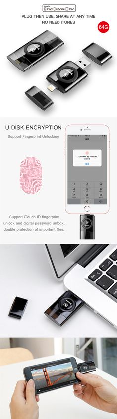 US$55.99 + Free shipping. iPhone accessories, iPhone 7 plus accessories, Fingerprint Encryption iFlash Drive. Save and share document at any time, no need of iTunes. Color: Jet Black. Capacity: 64GB.