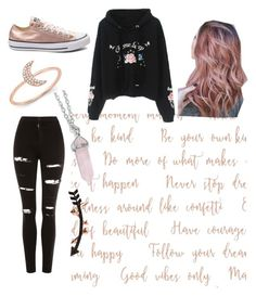"""""""Rose Gold Witch outfit ❤️"""" by pagan-hippy-freak ❤ liked on Polyvore featuring Topshop, Wild Hearts, Converse and Anne Sisteron"""