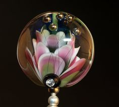 flower tab bead handmade glass bead SRA OOAK by CorneliaLentze, $29.00. Beautiful