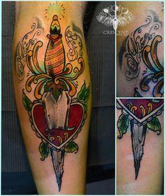 #neo #traditional #colour #tattoo #art #dagger #custom #inked