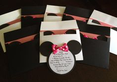 Minnie Mouse Birthday Party Invitations in Black with Pink & White Polka Dots. $24.00, via Etsy.