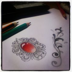 Images For > Heart Gem Tattoo