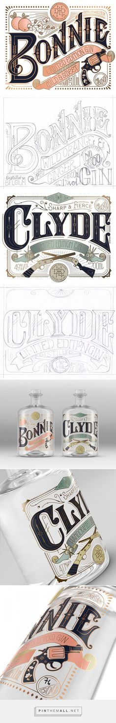 Typography Bonnie & Clyde Gin Packaging Design by Pearly Yon (South Af Vintage Typography, Typography Letters, Graphic Design Typography, Lettering Design, Hand Lettering, Poster Design, Label Design, Print Design, Branding Design