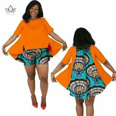 BRW 2017 African Print Summer Sets for Women Bazin Plus Size African Set Tops + Shorts Women Traditional african clothing African Dresses For Kids, African Wear Dresses, Latest African Fashion Dresses, African Attire, African Print Clothing, African Print Fashion, Africa Fashion, Traditional African Clothing, African Blouses