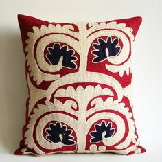 Sukan / Vintage Hand Embroidered Suzani Pillow Cover  by sukan,