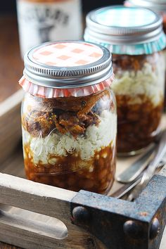 Oh boy, BBQ jars full of mashed potatoes, beans, and pulled pork…What a combo!