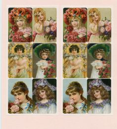 Victorian Girls STICKERS - Violette Stickers - Victorian Children Stickers - Victorian Stickers - Victorian Flower Stickers