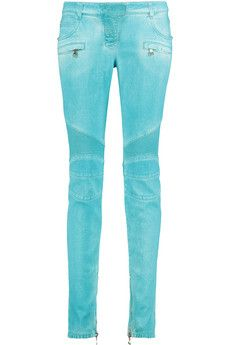 Balmain Coated low-rise skinny jeans | THE OUTNET